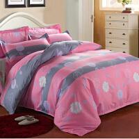 卡通四件套 �和�床上用品宿舍床�伪徽帜信��坞p人被套1.2m1.5米1.8米�W生三件套定制 粉�t 幸福柔情