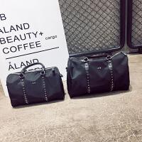 短途旅行包女手提包尼龙布韩版柳丁行李包运动健身包大容量行李袋 黑色