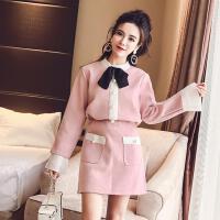 2018春装新款韩版时尚名媛百褶喇叭袖毛呢上衣半身裙小香风两件套