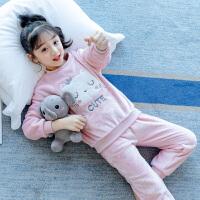 女童秋冬季珊瑚绒睡衣女孩家居服公主睡衣保暖套装