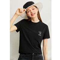 【到手价:69元】Amii极简时尚减龄百搭T恤女2020夏季新款潮圆领老鼠绣花短袖上衣