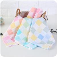 纯棉双层布料方格纱布毛巾韩式薄款成人儿童宝宝面巾