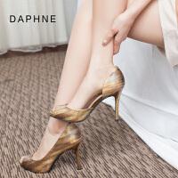 Daphne/达芙妮2015春新款女鞋 细高跟性感开边鱼嘴单鞋1015102038