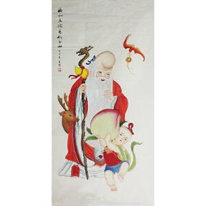 活画泰斗 国礼艺术家吴增 《福如东海 寿比南山》 夜显观音