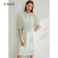 Amii极简气质两件套连衣裙夏新款收腰雪纺薄荷绿中长字裙子