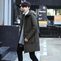 2017冬季新款男士加厚中长款羽绒服男韩版青年学生修身款外套潮