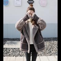 特惠新品上市2017冬季新款韩版学生鹿皮绒皮毛一体宽松加厚羊羔毛短款外套女潮 深咖啡 XS