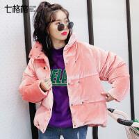 时尚金丝绒小个子羽绒服女短款韩版粉色2017冬新款百搭学生外套潮