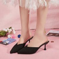 户外拖鞋外穿韩版时尚单鞋百搭尖头浅口中细跟女鞋