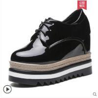 厚底内增高网红同款松糕鞋女鞋单鞋坡跟高跟黑色小皮鞋子