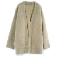 2017精品女装冬季韩版女式针织衫宽松型混纺水貂毛衣开衫74ML1519 均码