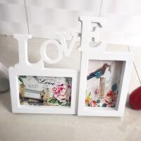 相框摆台创意欧式影楼6寸连体组合love桌摆像框架情侣宝宝节日礼 LOVE二连摆台 白色 6寸