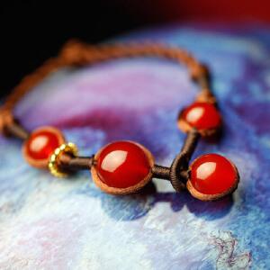 凤凰涅磐复古甜美红玛瑙手链 女 时尚樱桃 原创手工 中国风饰品