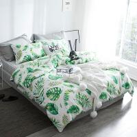 2018新款绿植系棉床上四件套 清新棉床单被套三件套床品套件