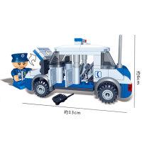 小颗粒积木警察巡逻船4拼装5男孩6女79玩具10岁