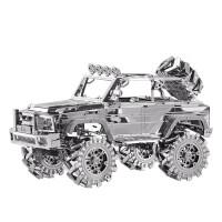 越野车3D立体金属拼图汽车模型益智玩具创意礼物 银色 (越野车)
