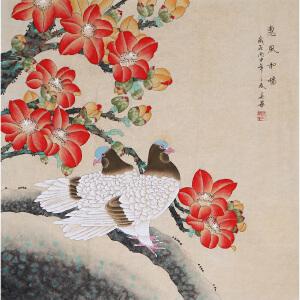 中国工笔画学会会员 著名工笔画家顾英华老师作品――惠风和畅