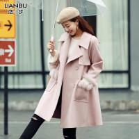 外套女中长款秋冬季新款韩版狐狸毛宽松时尚呢子大衣