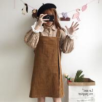 春季女装韩版中长款背带裙宽松百搭无袖连衣裙长裙显瘦+格子衬衫
