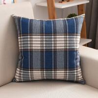 亚麻格子沙发抱枕套午睡抱枕靠垫床头靠垫套大号腰枕含芯可拆洗T 宝蓝色 蓝白条格