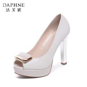 Daphne/达芙妮春季女单鞋防水台方扣鱼嘴超高跟鞋