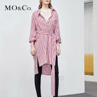 MOCO夏季新品翻领条纹可调节腰带衬衫连衣裙MA182DRS111