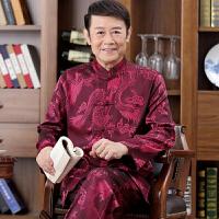 中国风唐装男士长袖套装春秋中老年人爸爸装居士服复古衬衫爷爷装