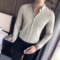 英伦秋季商务细条纹衬衣男装精品韩版修身长袖衬衫男士寸衫男衣服