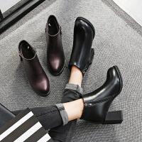 毅雅2017秋冬新款欧美时尚简约圆头粗跟及踝靴高跟女短靴子马丁靴