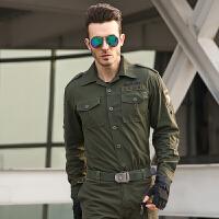 秋季新款军装棉质迷彩服男士长袖衬衫 宽松工装外穿军旅休闲衬衣