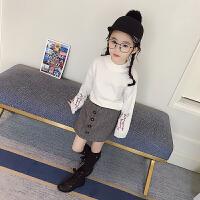 女童春季新款2018侧拉链高腰复古短裙时尚不对称半身裙潮