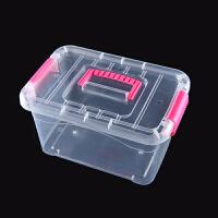食品级透明收纳箱整理箱塑料箱子有盖大小号手提储物收纳盒衣物 粉色大号 4403 透明白