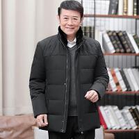 新款冬装中年男士短款立领加厚保暖大码商务中老年羽绒服男装外套 墨绿色 0/M