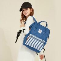 书包女学生背包双肩包学院风旅行包时尚hst 白蓝