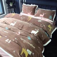 床上四件套珊瑚绒加厚保暖法兰绒短毛绒床单床笠1.5/1.8m床