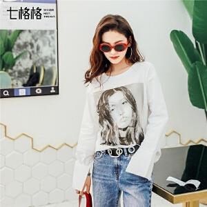 七格格白色宽松长袖T恤女春装bf原宿风2018新款韩版复古打底衫圆领上衣