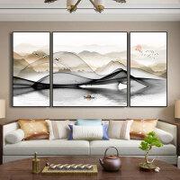 轻舟过江新中式客厅沙发背景墙装饰画现代简约北欧风格风水挂画免打孔 两边55*110+110*110建议4米以上 铝
