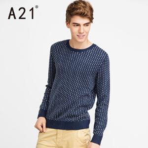 以纯A21男士修身线衫冬季潮英伦2017新款毛衣男 学生圆领潮牌针织衫