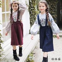 韩国童装2018春装新款韩版女童洋气套装儿童刺绣条纹背带裤两件套