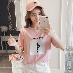RANJU 然聚2018女装夏季新品新款韩版图案短袖T恤女宽松ins半袖上衣打底衫潮