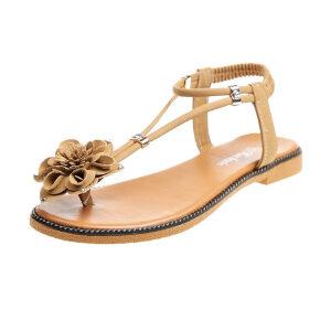ELEISE美国艾蕾莎新品060-806韩版超纤皮平跟花朵女士凉鞋