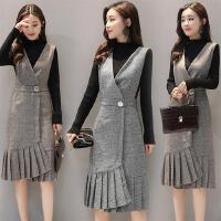 背带裙18新款秋装女装套装裙韩版修身显瘦冬针织打底长袖连衣裙