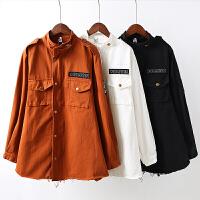 B1秋季学院风女立领字母刺绣风衣 外套长袖韩版学生宽松短外套0.7