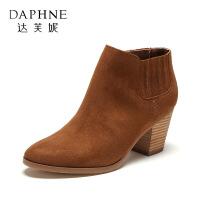 达芙妮集团鞋柜专柜正品冬款上新简单松紧口高跟女短靴-1