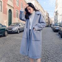 呢大衣女加厚秋冬外套女2018新款韩版中长款毛呢外套灯笼袖小个子大衣 雾蓝色 加棉加厚