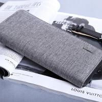 钱包男长款拉链青年手拿包休闲男士小手包潮流韩版帆布钱夹手机包 灰色