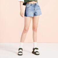 太平鸟牛仔短裤女2019夏季新款印花拼色牛仔蓝短裤显瘦下装女直筒