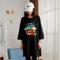 【秒杀价42.2元】唐狮彩色字母女卫衣中长印花七分袖女T恤