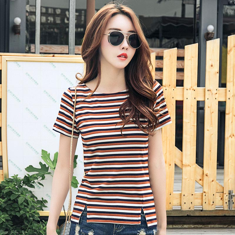 夏季新款韩版棉质条纹t恤女修身显瘦半袖打底衫上衣潮短袖