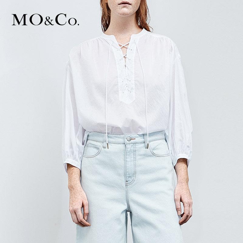 MOCO夏季新品圆领绑带七分袖宽松纯棉上衣 MA182TOP103摩安珂 满399包邮 圆领绑带前襟 宽松衬衫版型